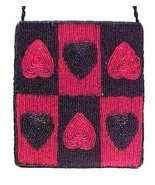 Valentine Heart Beaded Evening Bag Purse Hand H... - $14.95