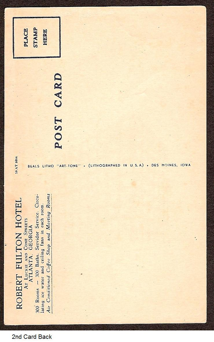 Robert Fulton Hotel Atlanta GA 1940 divided unused postcard