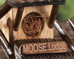 Rustic Moose Lodge Northwoods Hanging Birdhouse