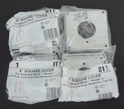 """LOT OF 4 NEW HUBBELL 811 4"""" SQUARE COVERS RAISED 1/2"""" image 1"""