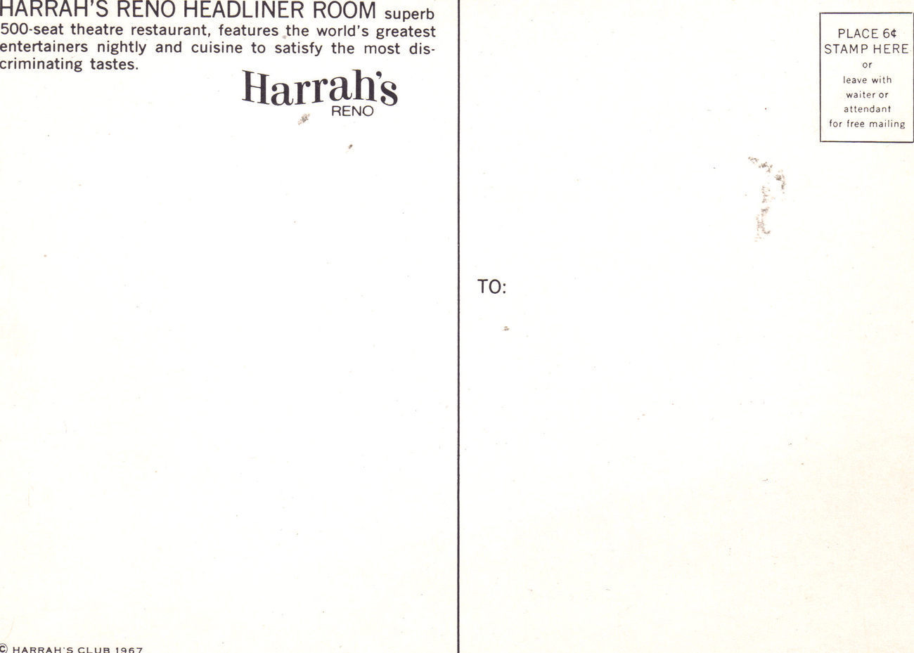 HARRAH'S RENO HEADLINER ROOM Postcard