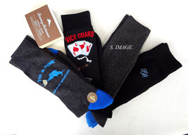 TOMMY BAHAMA Men's CASUAL CREW Socks 4 Pairs Blk/Charcol OSFM FIN & TONI... - $20.95