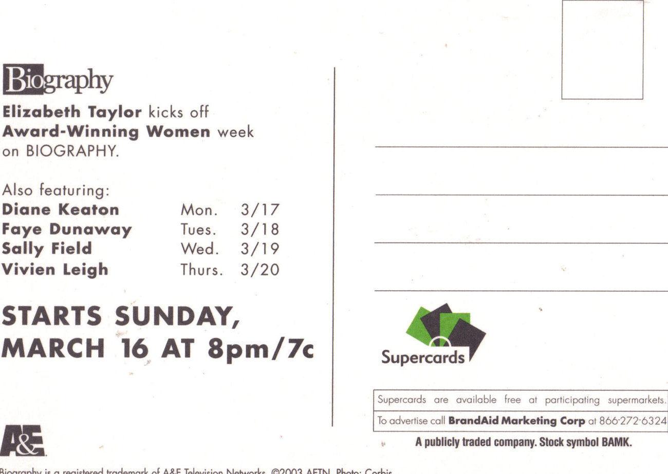 ELIZABETH TAYLOR Biography Special Supercard Postcard A&E