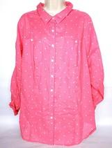 Lane Bryant Women's Button Down Shirt 18/20 Pink White Polka Dot Long Sl... - $24.75