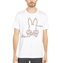 Men's Psycho Bunny Shirt Freeport Graphic Tee Striped Logo White T-shirt image 4