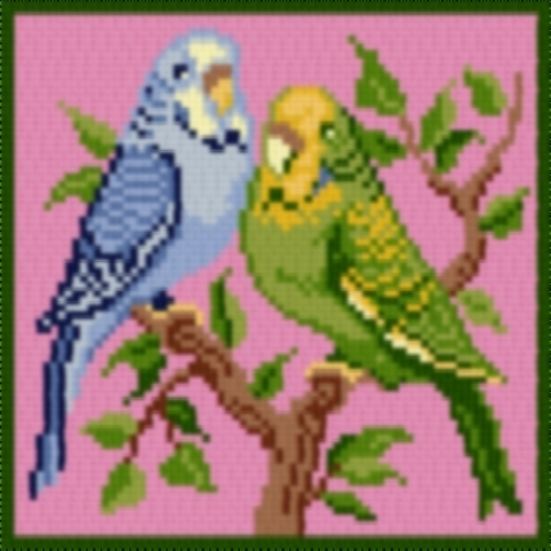 Latch Hook Rug Pattern Chart: PARAKEETS - EMAIL2u