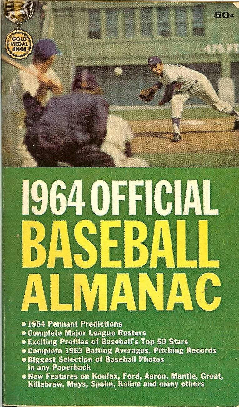 1964 official baseball almanac dodger sandy koufax on cover