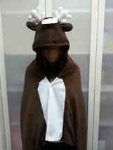 Cute Brown Deer Animal Soft Comfortable plush Costume Cloak Shawl Cape Wrap T16 image 1