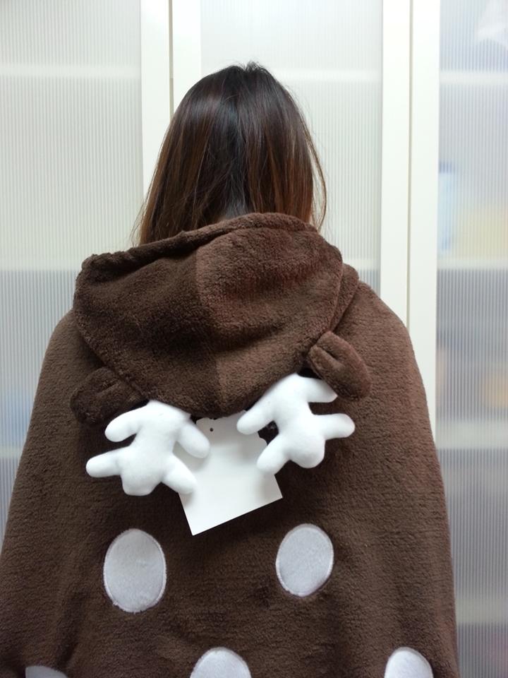 Cute Brown Deer Animal Soft Comfortable plush Costume Cloak Shawl Cape Wrap T16 image 6