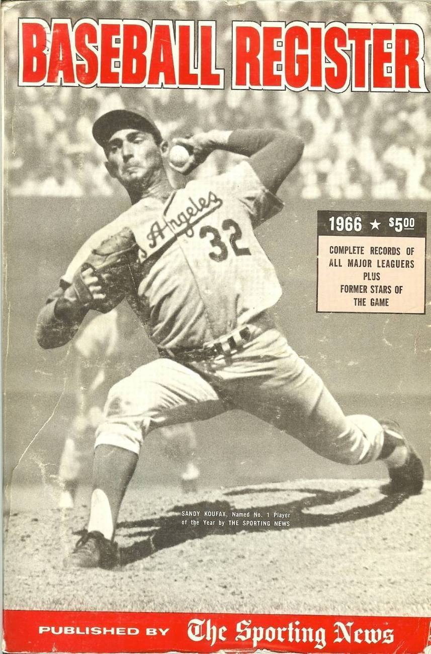 baseball register by the sporting news sandy koufax cover