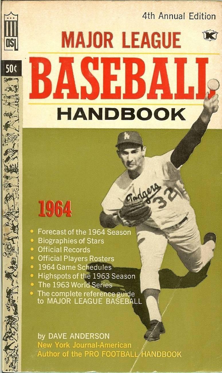 1964 major league baseball handbook sandy koufax on cover
