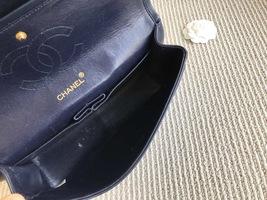 100% Authentic Chanel Vintage Dark Blue Lambskin Medium Classic Double Flap Bag  image 8