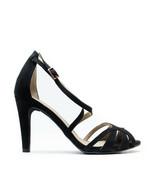 Woman Vegan Court Hight Heel Stiletto Sandal Strap Black Ecological Micr... - $99.96+