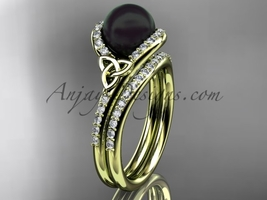 Black Cultured Pearl Celtic Wedding Set 14k Yellow Gold Diamond, CTBP7317S - $2,095.00