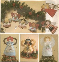 Xmas Standing Angel Southwest Victorian Tree Topper Animal Ornament Sew ... - $12.99