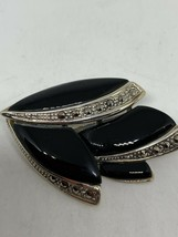 Vintage Marcasite Black Onyx Deco Pin Broach 925 Sterling Silver - $126.72