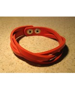 BRACELET UNISEX RED LEATHER WEAVE ADJUSTABLE #810 - $9.99