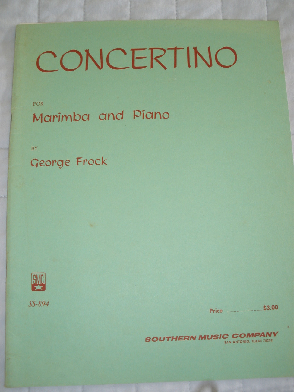 Concertino for Marimba by Frock - Marimba Solo