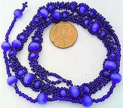 Blue Cat Eye Beaded Daisy Chain Necklace - $16.99