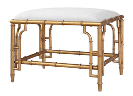 FAUX GOLD BAMBOO, Bench or Stool with Linen Cushion, Hollywood Regency /... - $749.00