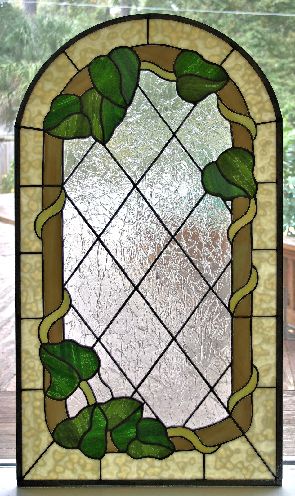 Ivy vine stained glass window panel and 15 similar items for 15 panel beveled glass door