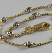 "18K YELLOW & WHITE GOLD ROLO ALTERNATE CHAIN NECKLACE 3mm FACETED OVAL BALLS 18"" image 2"