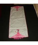 Table Runner Linen Spanish Senorita Red Dress C... - $13.00