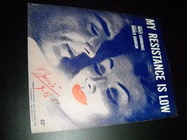 Sheet Music My Resistance Is Low Hoagy Carmichael Harold Adamson 1951 Mo... - $8.99