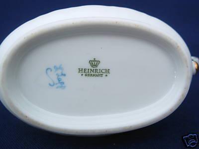 HEINRICH German Porcelain Creamer Pitcher white blue