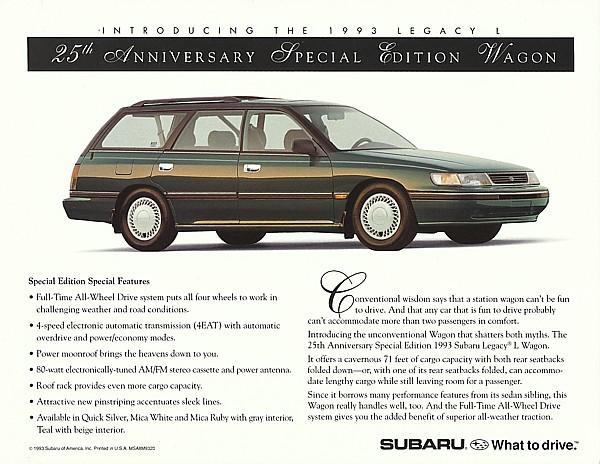 1993 Subaru LEGACY 25th ANNIVERSARY EDITION sales brochure sheet 93