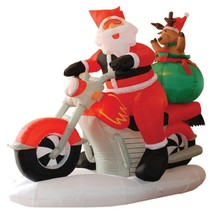 NEW 6 ft. Long Santa Motorcycle Reindeer Airblown Inflatable Christmas L... - $119.99