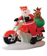 NEW 6 ft. Long Santa Motorcycle Reindeer Airblown Inflatable Christmas L... - $119.99