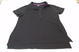 W12408 Womens LANE BRYANT black cotton/modal POLO SHIRT, short sleeves, sz 14/16 - $28.97