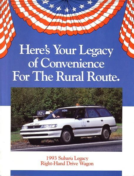 1993 Subaru LEGACY RHD Postal Wagon brochure catalog US