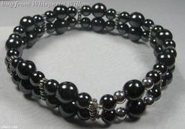 Double Strand Magnetic Hematite and Silver Daisy Bracelet - $14.95