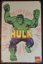 """The incredible Hulk Comics Wall Metal Sign plate Home decor 11.75"""" x 7.8"""" image 1"""