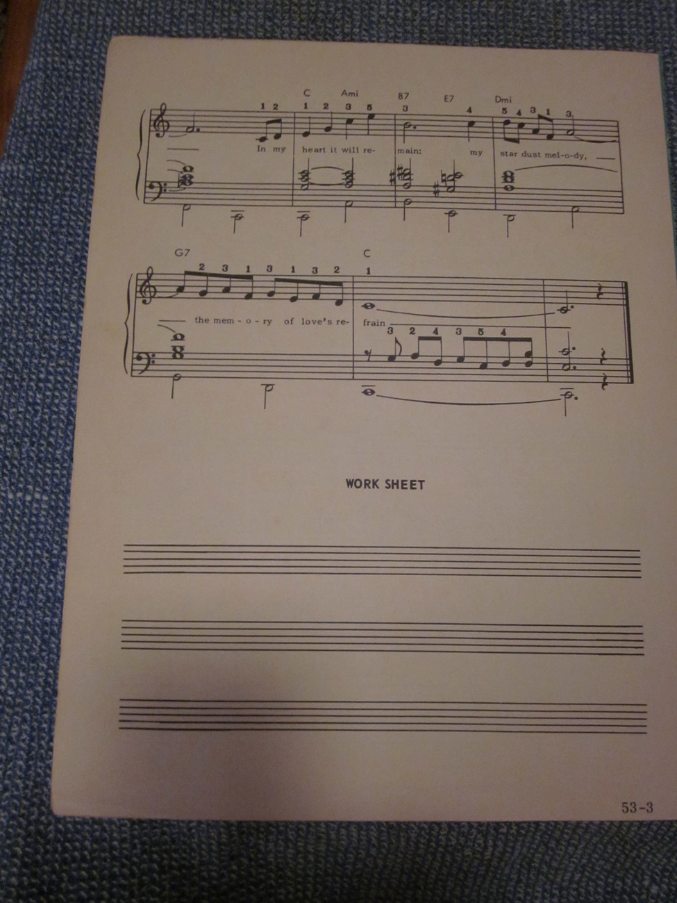 Vintage Sheet Music Star Dust for the Organ