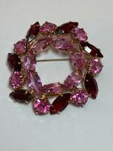 Vintage Juliana Red & Pink Rhinestones Large Wreath Pin Brooch Gold Tone Setting - $69.00