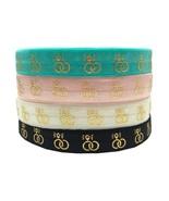 10Yards Gold Foil Diamond Rings Fold Over Elastic Ribbon, Bachelorette H... - $9.00