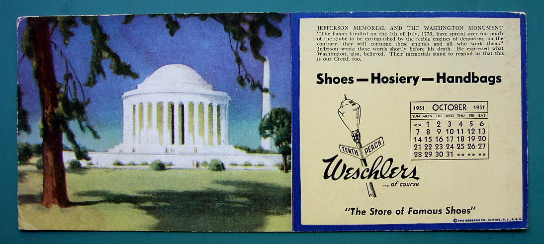 INK BLOTTER 1951 - Jefferson Monument & AD for Weschlers Shoes Erie Pennsylvania