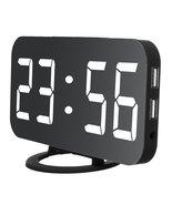 Digital Alarm Clock Portable Mirror HD LED Time Display Function, Dual U... - $38.99