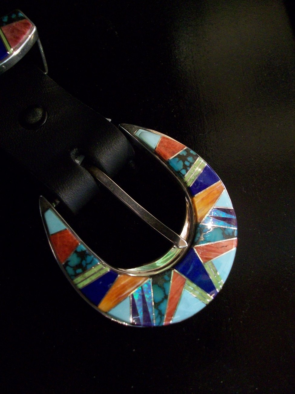 Sterling Silver Inlay Ranger Buckle Set, Native American, Hand Crafted, New