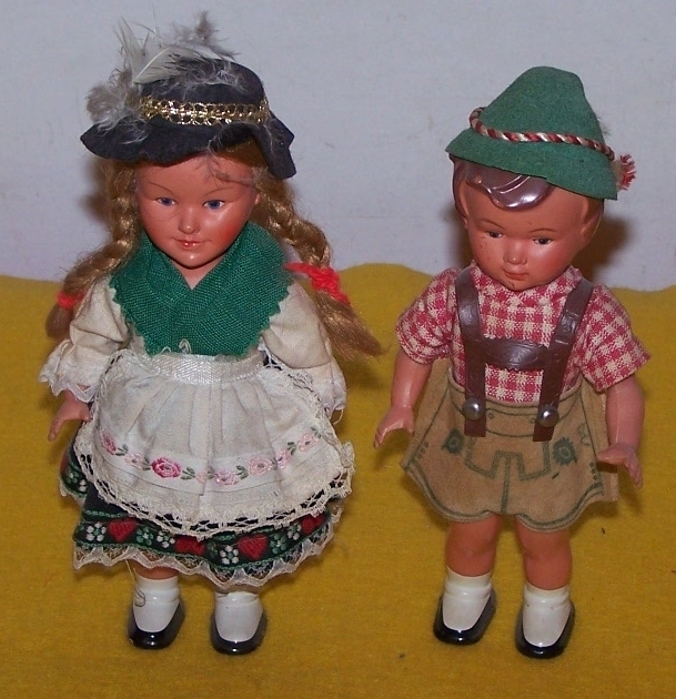 Primary image for 2 Austrian Bavarian Wind Up Dancing Dolls