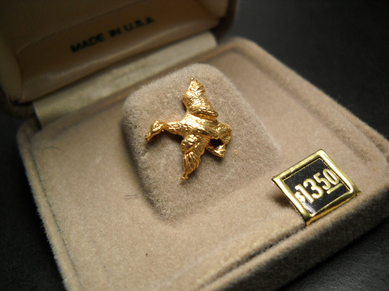 Anson Tie Tack Small Golden Duck in Flight Made in USA Original Presentation Box - $12.99