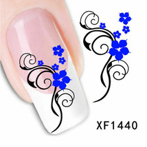Nail Art Water Transfer Sticker Decal Stickers Pretty Flowers Blue Black... - $2.99