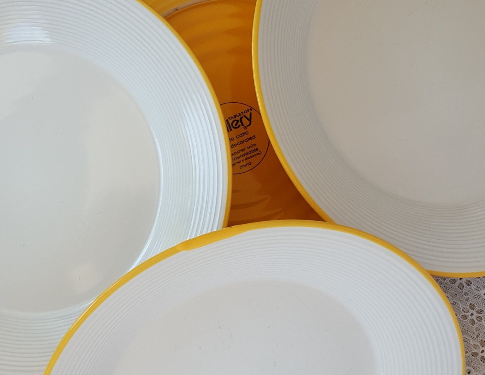 Tabletops Gallery MONTE CARLO Stoneware Dinner Plates Set of 4 Yellow White & Tabletops Gallery MONTE CARLO Stoneware and similar items