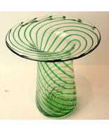 Art Glass Broad Rimmed Vase Green Swirl - $67.27