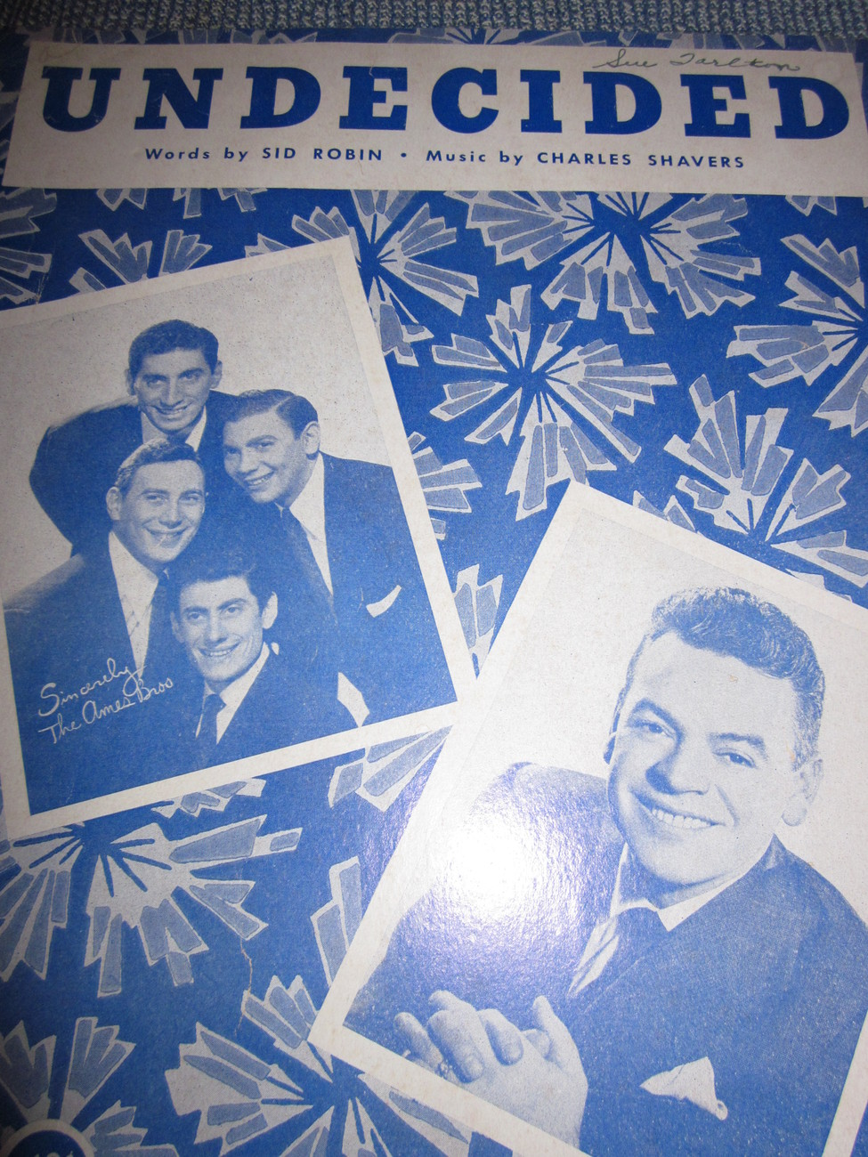 Vintage Sheet Music Undecided as sung byThe Ames Brothers 1939
