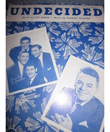 Vintage Sheet Music Undecided as sung byThe Ames Brothers 1939 - $7.99