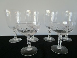 6 Vintage FOSTORIA Elegant Glass Cut Crystal HOLLY Pattern Water Goblets - $16.82